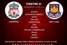 Liverpool team v West Ham 24 February 2018