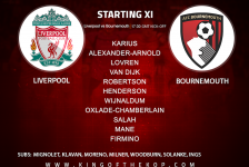 Liverpool team v Bournemouth in the Premier League at Anfield on Saturday 14 April 2018