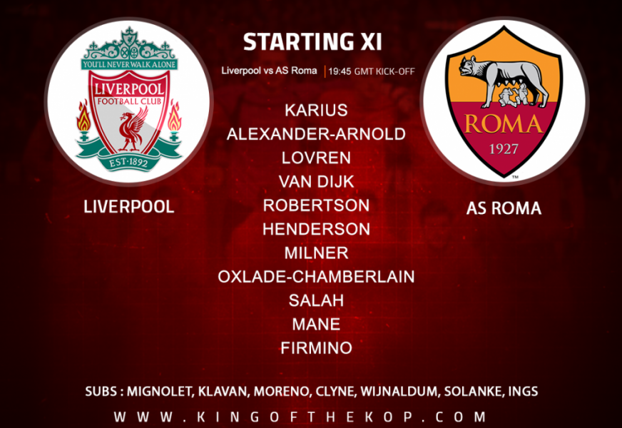 Liverpool team v Roma in the Champions League semi-final first leg at Anfield Tuesday 24 April.