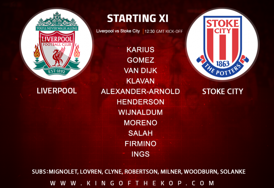 Liverpool team v Stoke City at Anfield 28 April, 2018
