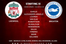 Liverpool team v Brighton in the Premier League at Anfield on Sunday 13 May 2018