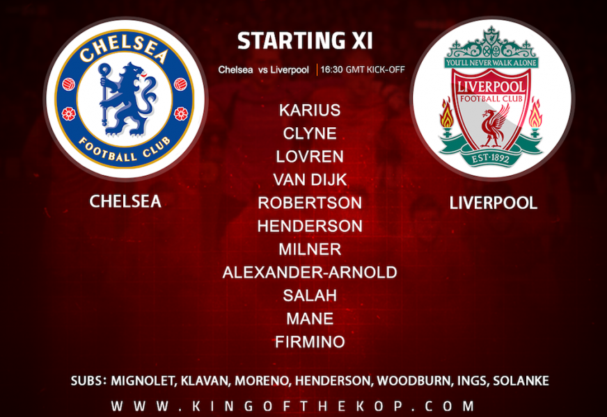 Liverpool team v Chelsea on Sunday 6 May