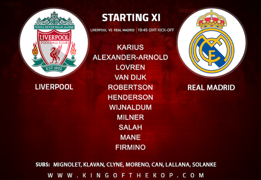 Liverpool team v Real Madrid