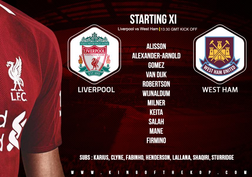 Liverpool team v West Ham 12 August 2018