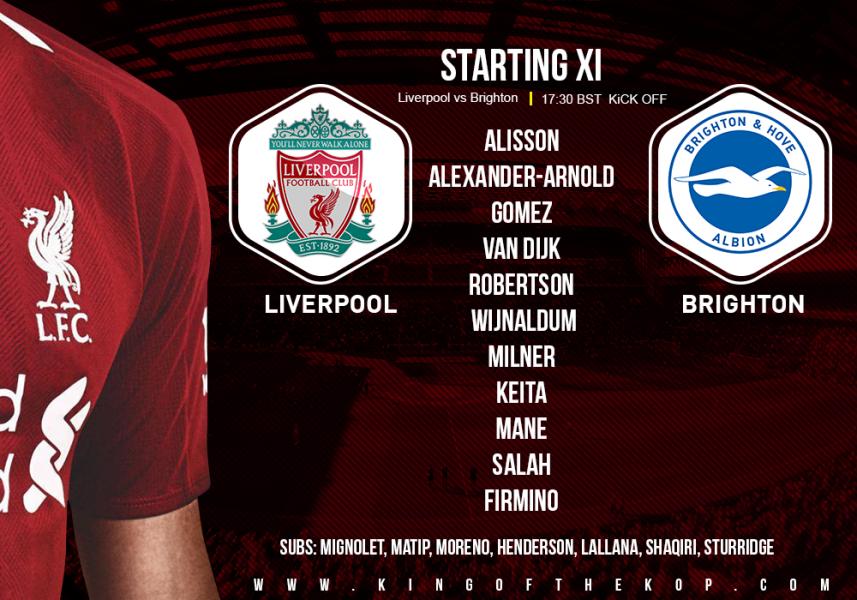 Liverpool team v Brighton 25 August 2018