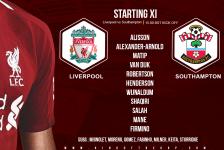 Liverpool team v Southampton Premier League 22 September 2018