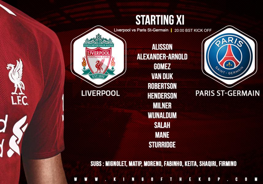 Liverpool v Paris Saint-Germain 18 September 2018