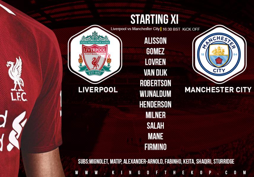 Liverpool team v Manchester city 7 October 2018