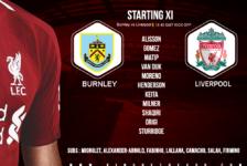 Liverpool team v Burnley 5 December 2018