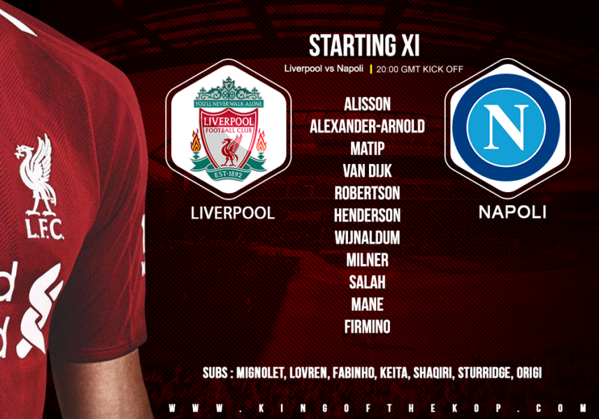 Liverpool team v Napoli champions league 11 December 2018