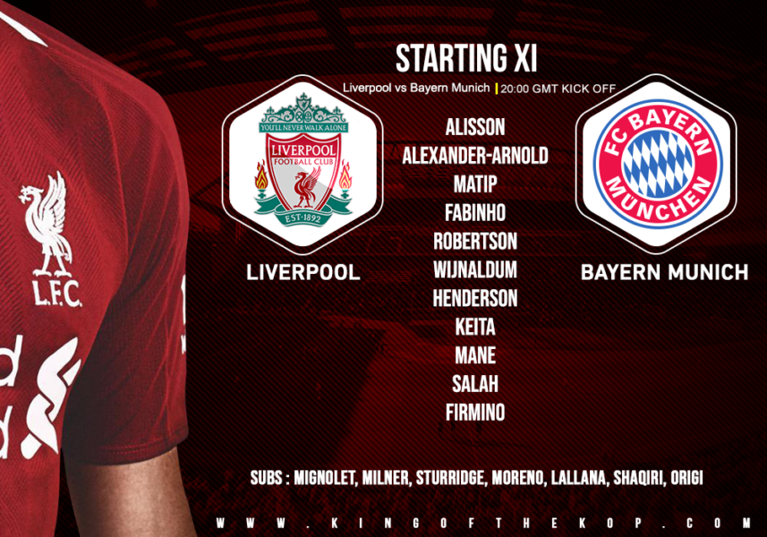 Confirmed: Liverpool team v Bayern Munich