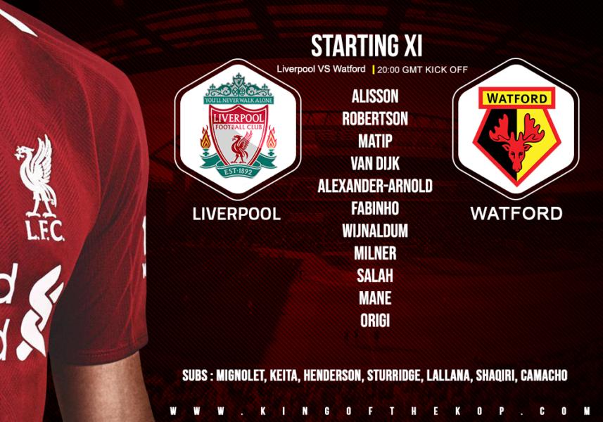 Liverpool team v Watford 27 February 2019