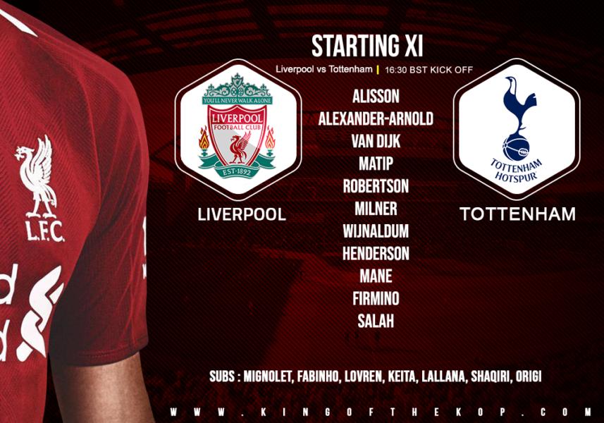 Liverpool team v Tottenham 3 1 March 2019