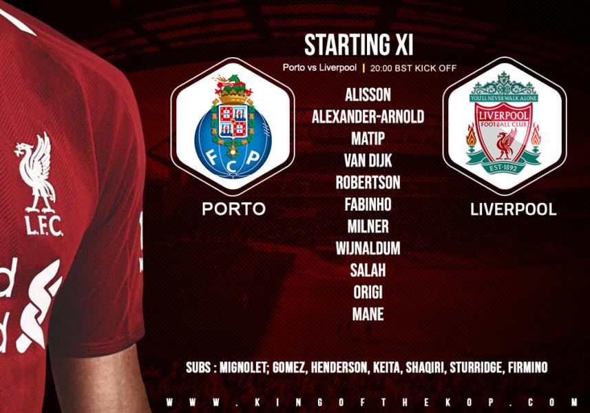 Confirmed: Liverpool team v Porto