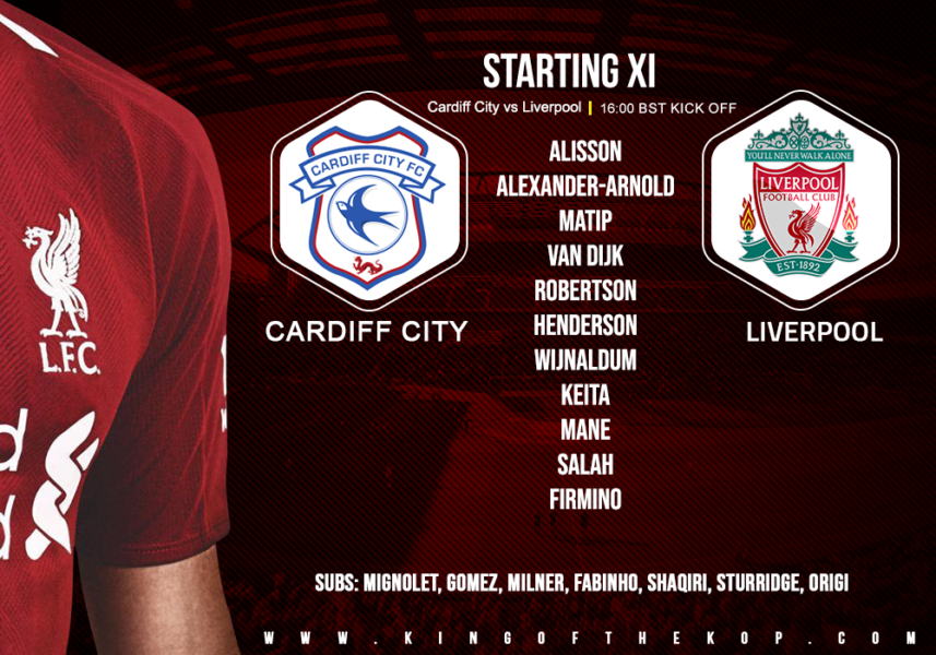 Confirmed: Liverpool team v Cardiff City