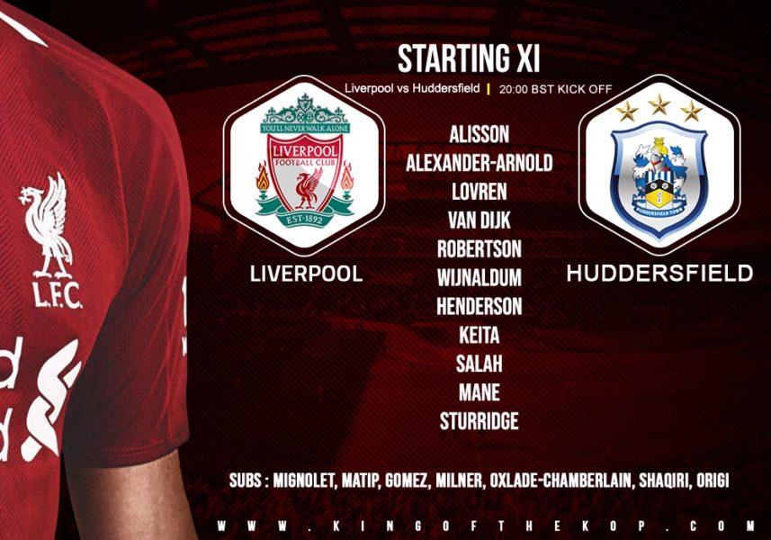 Confirmed: Liverpool team v Huddersfield