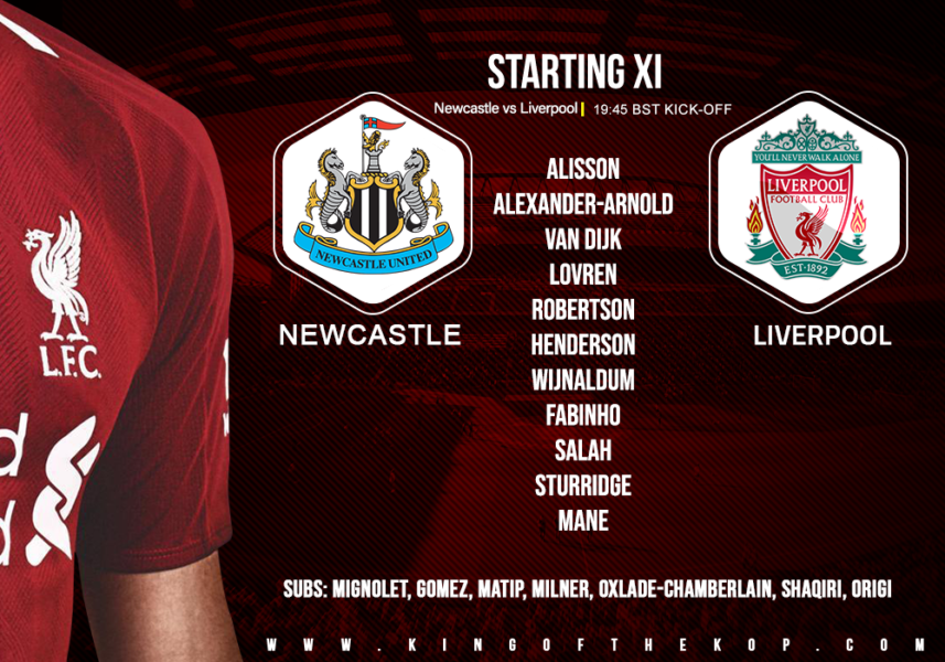 Confirmed: Liverpool team v Newcastle United