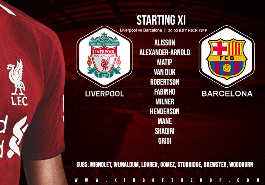 Confirmed: Liverpool team v Barcelona