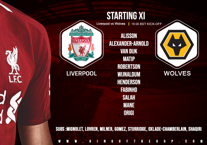 Liverpool team v Wolves 12 May 2019