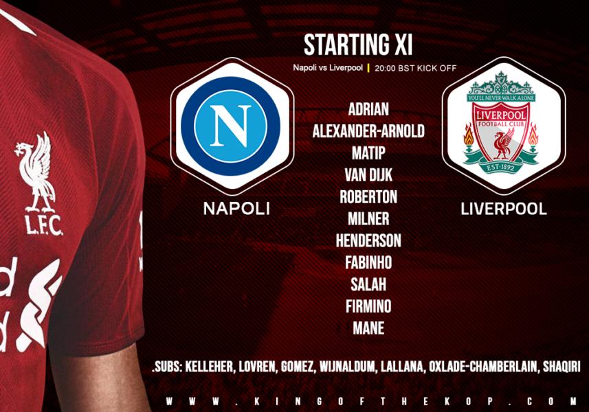 Confirmed: Liverpool team v Napoli