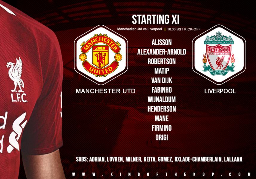 Liverpool team v Manchester United 20 October 2019