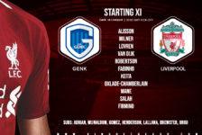 Confirmed: Liverpool team v Genk
