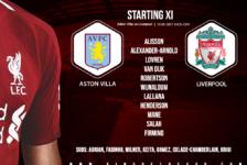 Liverpool team v Aston Villa 2 November 2019