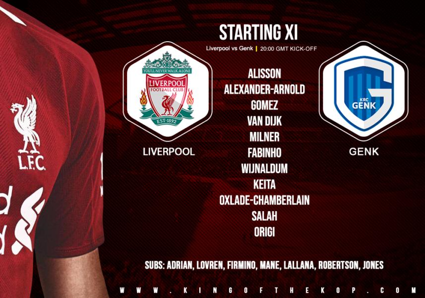Liverpool team v Genk 5 November 2019