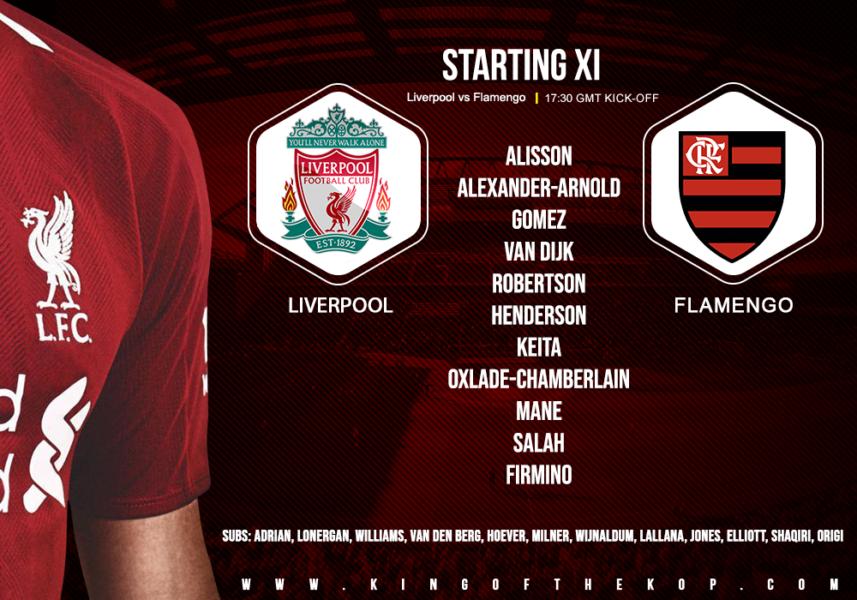 Confirmed: Liverpool team v Flamengo