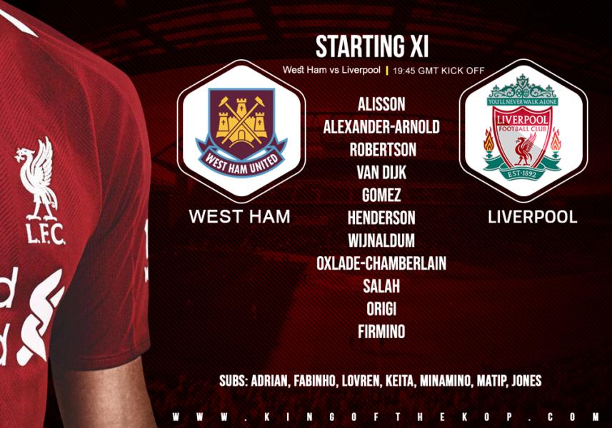 Liverpool team v West Ham