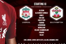 Liverpool team v Southampton 1 February 2020