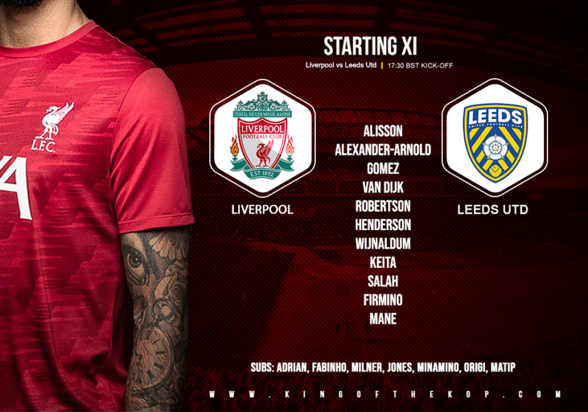 Liverpool team v Leeds United Anfield 12 September 2020