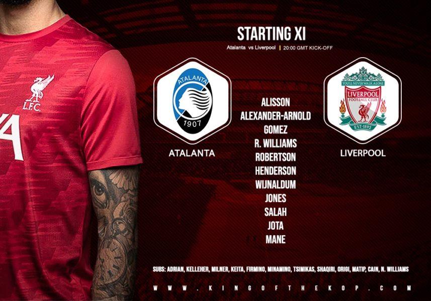 Confirmed: Liverpool team v Atalanta