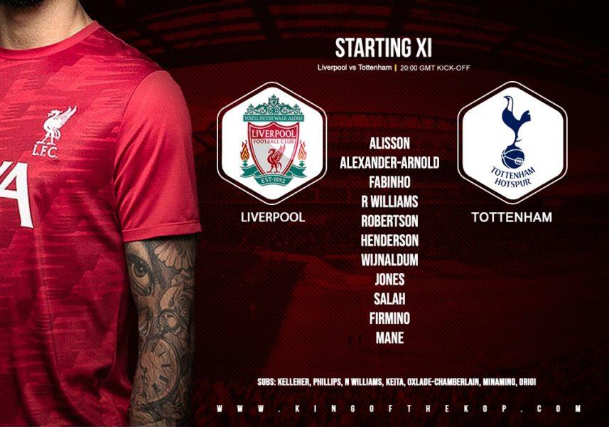 Confirmed: Liverpool team v Tottenham