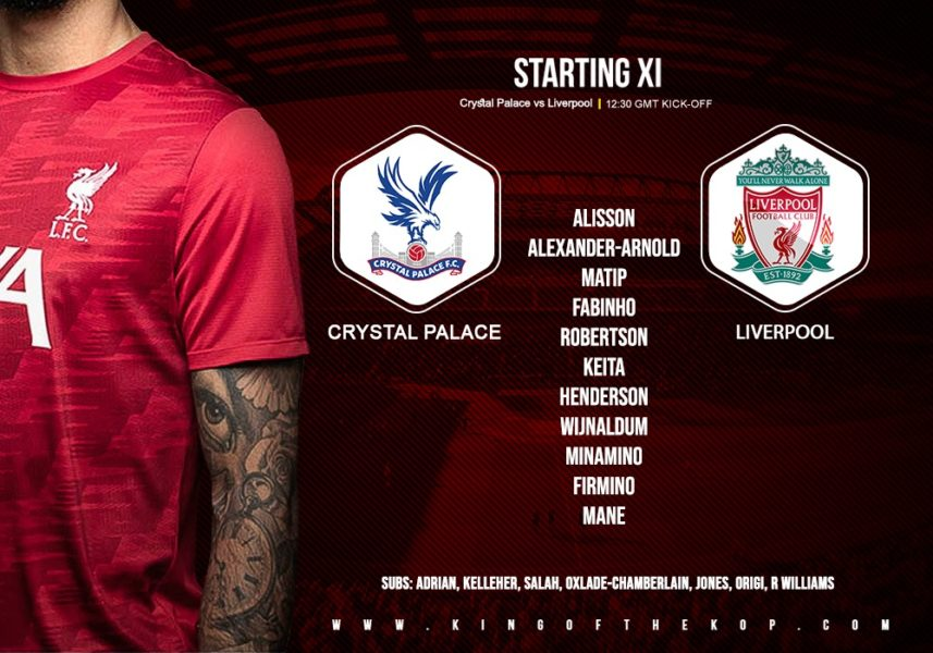 Confirmed: Liverpool team v Crystal Palace