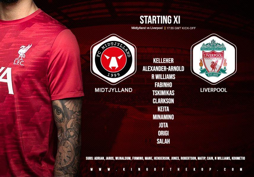 Liverpool team v FC Midtjylland Champions League 9 December 2020