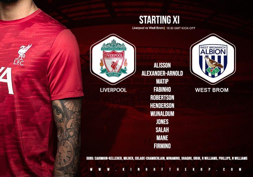 Liverpool team v West Brom 27 December 2020