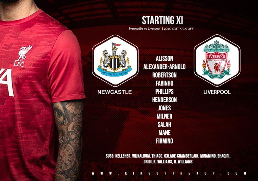 Liverpool team v Newcastle 30 December 2020
