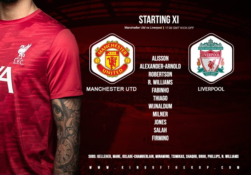 Liverpool team v Manchester United FA Cup fourth-round 24 January 2021