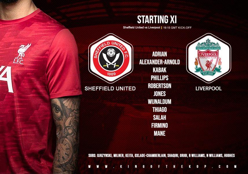 Liverpool team v Sheffield United 28 February 2021