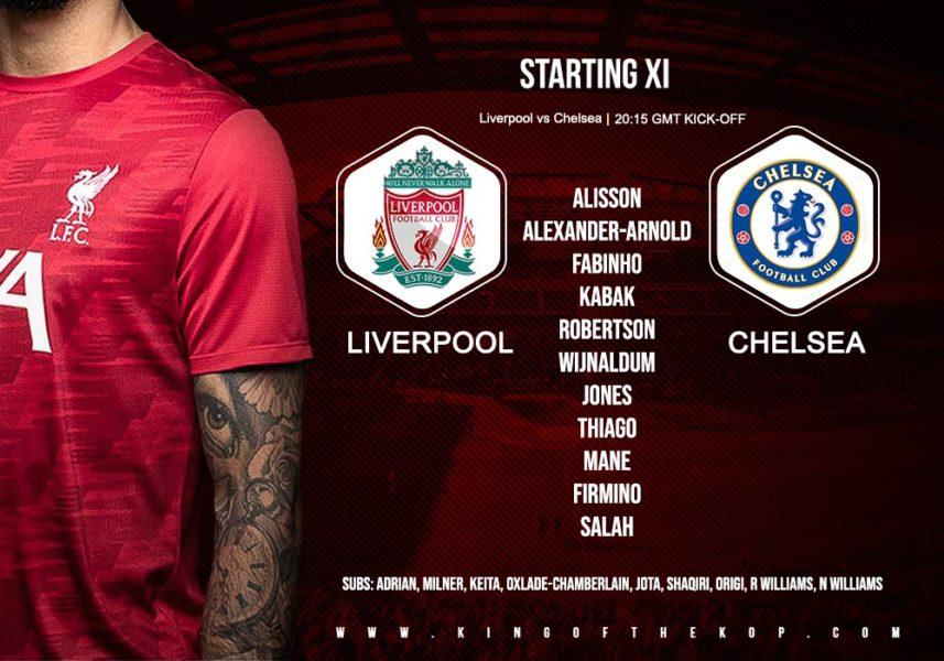 Confirmed: Liverpool team v Chelsea