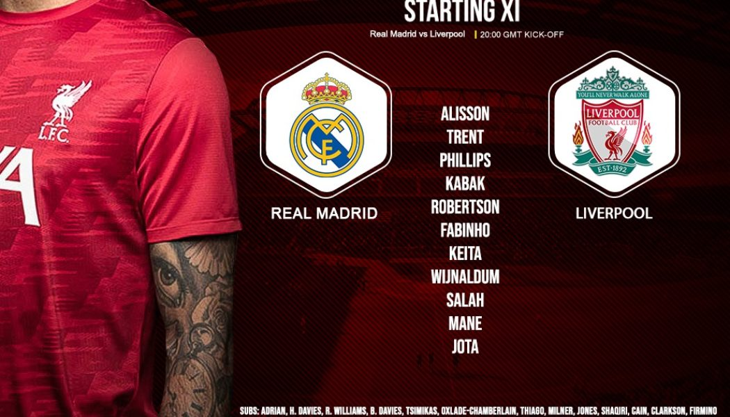 Liverpool team v Real Madrid champions league quarter-final 6 April 2021