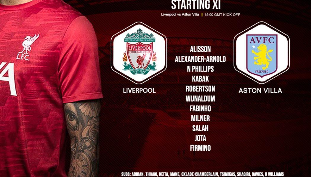 Liverpool team v Aston Villa 10 April 2021