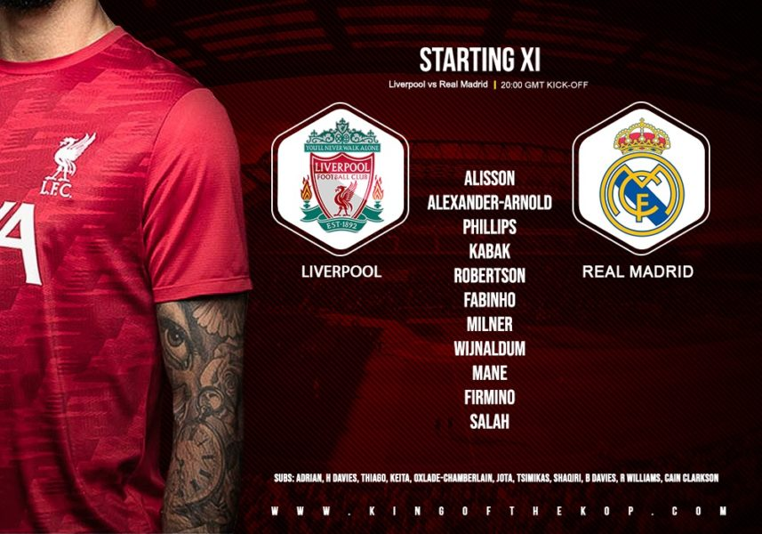 Liverpool team v Real Madrid in the Champions League on 14 April 2021