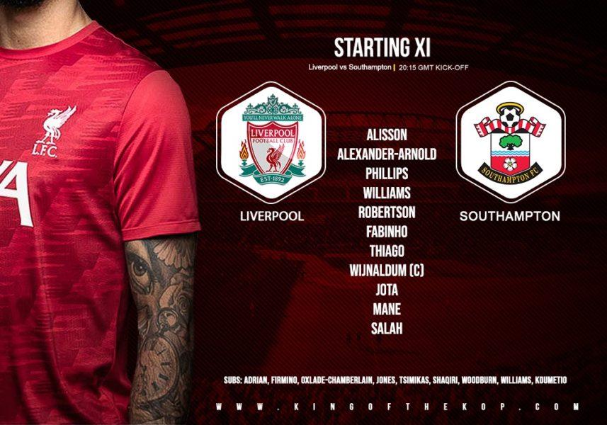 Confirmed: Liverpool team v Southampton