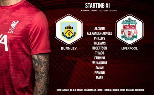 Confirmed: Liverpool team v Burnley