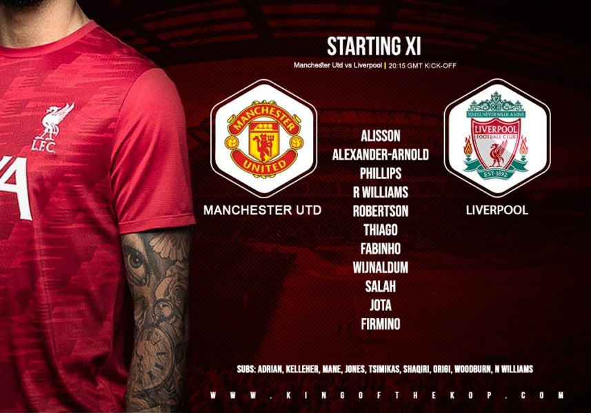 Confirmed: Liverpool team v Manchester United