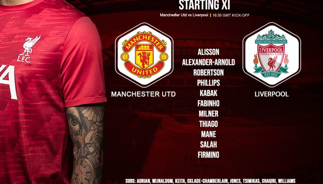 Liverpool team v Manchester United in the Premier League 2 May 2021