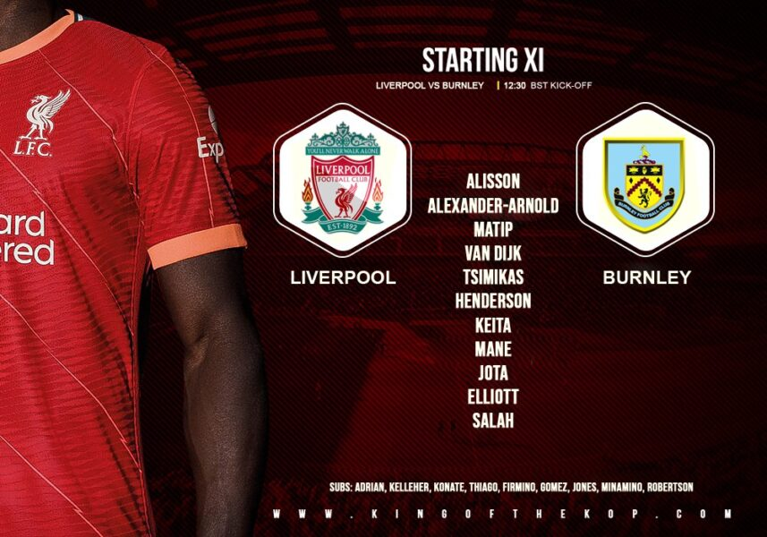 Liverpool team vs Burnley at Anfield 21st of August 2021