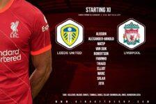 Liverpool team v Leeds United at Elland Road on 12 September 2021